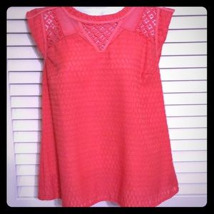 Skies are blue coral blouse